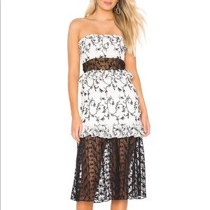 Majorelle Lace and Sheer Midi Strapless Dress